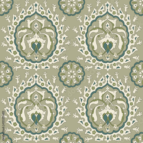 Traditional Arabic seamless ornament.  Floral pattern for your design.  Iznik. Vector. Background. - 133283482