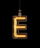 Alphabet  E made of light bulb. 3D illustration - 133284259
