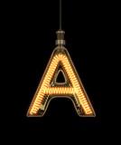 Alphabet A made of light bulb. 3D illustration - 133284267