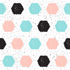 Doodle hexagon seamless background. Black, blue and pink circle.