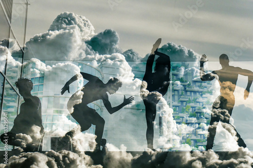 Double exposure of street dancers and beautiful cloudscape - 133295041