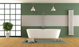 Contemporary green and gray bathroom