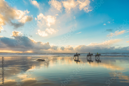 Fototapety, obrazy : Horses walking on the beach at sunset