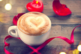 Valentines Day coffee with heart on foam. Love concept. Romantic Valentine background