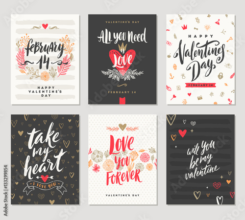 Vector set of Valentine's Day hand drawn posters or greeting card with handwritten calligraphy quotes, phrase and illustrations.