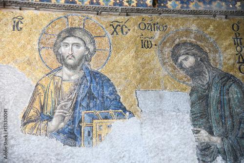 Poster Byzantine Mosaic of Jesus Christ in Hagia Sophia, Istanbul, Turkey