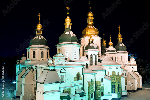 Poster St. Sophia Cathedral at night. Kiev. Ukraine