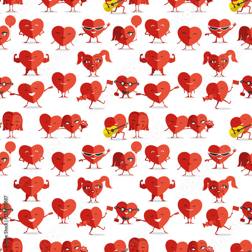 Cotton fabric Red hearts.