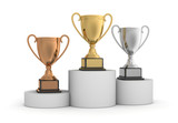 awards on winner podium concept  3d illustration