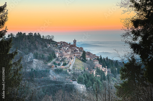 Foto Murales Sacro Monte of Varese also called Santa Maria del Monte, Varese - Italy. In 2003 entered from UNESCO in list of World Heritage