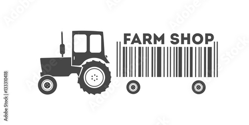 Poster Vector of monochrome farm tractor with bar-code trailer