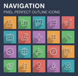 Set of pixel perfect outline navigation icons with long shadow. Editable stroke.