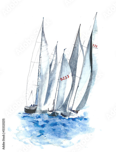 Yachts boats watercolor painting illustration isolated on white background - 133320215