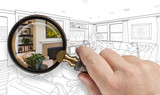 Hand Holding Magnifying Glass Revealing Custom Living Room Design Drawing and Photo Combination.