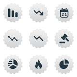 Set Of 9 Simple Situation Icons. Can Be Found Such Elements As Tribunal, Fire, Round Graph And Other.