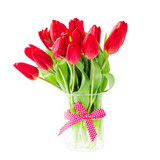 Red tulips bouquet in vase. Isolated over white background