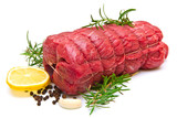 roast of beef with rosemary on white - 133327210