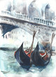 Venice canal with gondolas Rialto bridge Italy watercolor painting handmade artwork