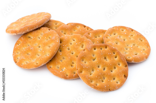 Poster Short pastry cookies isolated on white background.