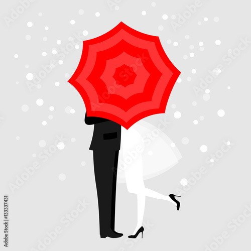 Man and a woman under red umbrella © moremar