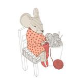 Vector illustratoin. Cute animal like humans. Humanized animal. Dressed mouse knits socks. Big basket with wool balls.