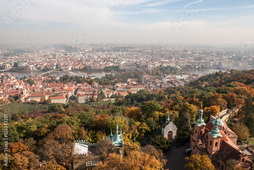 Poster Prague cityscape view from Petrin tower