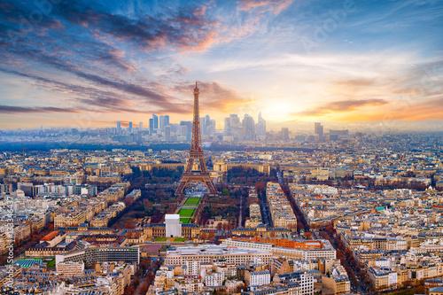 Spoed canvasdoek 2cm dik Parijs Paris im Sonnenuntergang