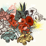 Flowers in engraved retro style