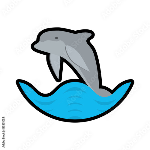 Poster dolphin ocean fish friendly wave stamp vector illustration eps 10