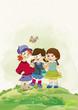 Friends. Happy girls. Illustration. Childhood.