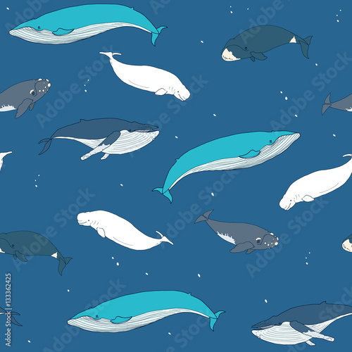 Poster Seamless pattern with hand drawn whales on blue background with white dots