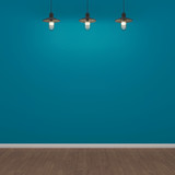 Room with blue wall, wooden floor and lamps. 3D rendering
