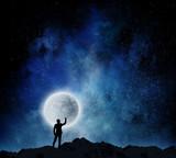 Man and full moon . Mixed media