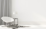 White interior with wicker chair - 133368210