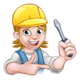 Woman Electrician Holding Screwdriver