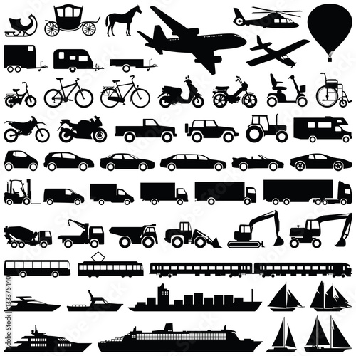 Fridge magnet Transport icon collection - vector silhouette