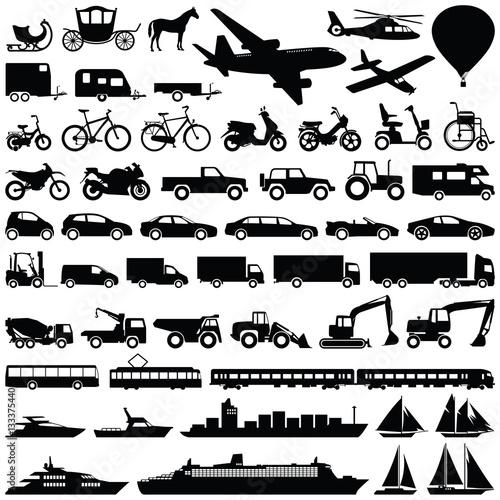 Fototapeta Transport icon collection - vector silhouette