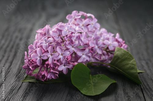 purple lilac flowers on old wood table, simple springtime photo