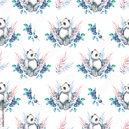 Seamless pattern with watercolor panda, blueberry and plants, hand drawn on a white background - 133385621