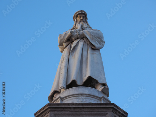 Poster Leonardo da Vinci monument in Milan