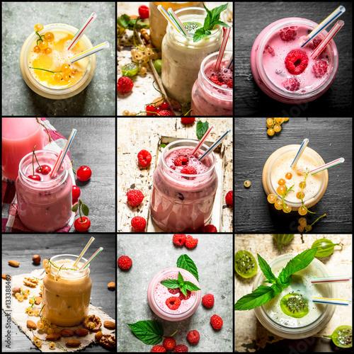 Foto op Plexiglas Milkshake Food collage of berry smoothie .