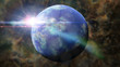 beautiful earth-like planet in space surrounded by a colorful nebula - 133393885