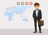 Infographic with world map and businessman