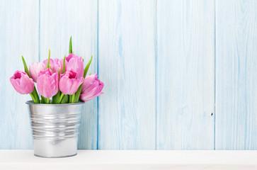 Fresh pink tulip flowers bouquet