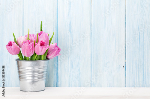 Fresh pink tulip flowers bouquet Poster