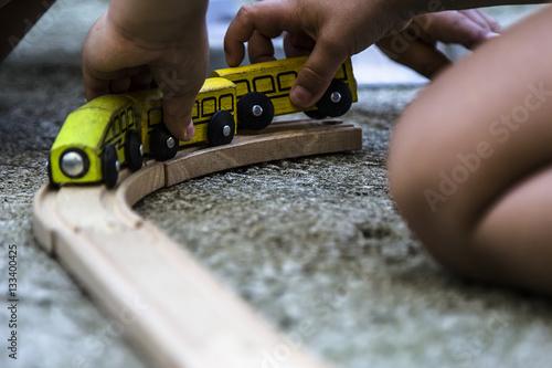 Poster Trenino di legno per bambini