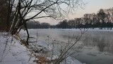 River in winter. Rural landscape in winter. World covered in snow.