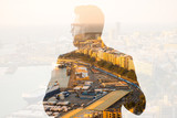 Double exposure portrait of a businessman combinated with spanish city background