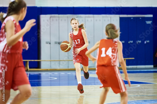 Girls athlete in sport uniform playing basketball