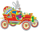 Easter Bunny driving his retro car with a big colorfully painted egg and gifts